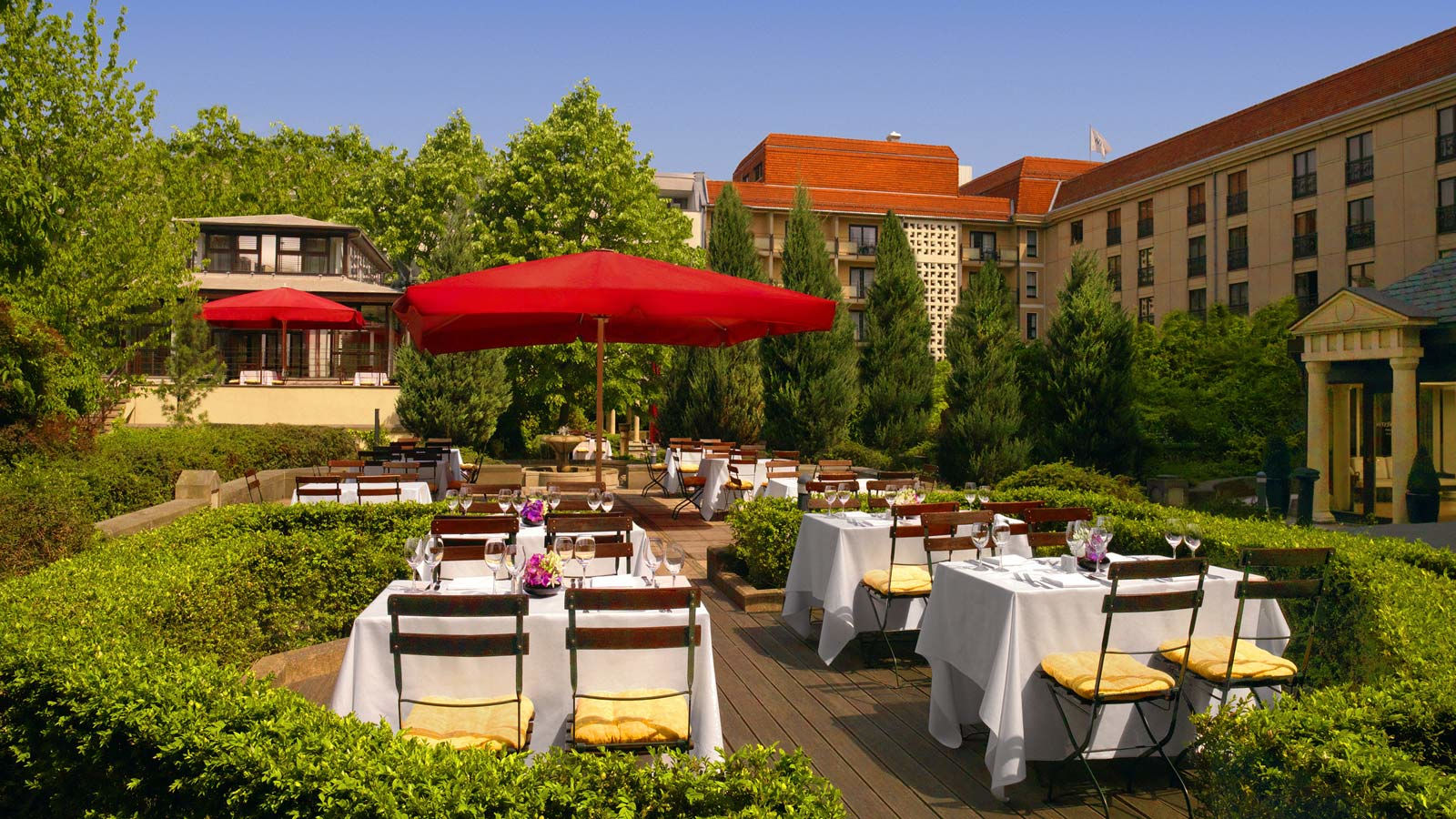 Hotel garden of The Westin Grand hotel in Berlin
